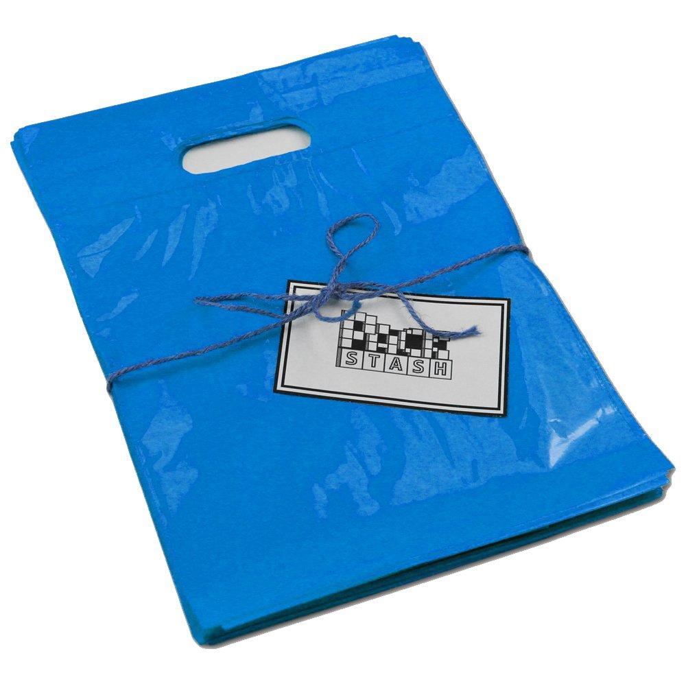 PackStash (500 Qty) 16'' x 18'' x 4'' Royal Blue Retail Merchandise Plastic Shopping Bags - (Large) Premium Tear-Resistant Film, Double Thick Handles, Vibrant Glossy Finish