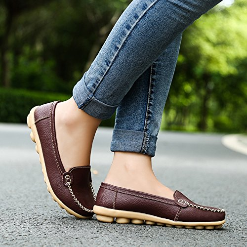 Lingtom Mujeres Slip-on Loafer Zapatos Zapatos De Mocasin Mocasines De Cuero Genuino De Conducción Informal Marrón