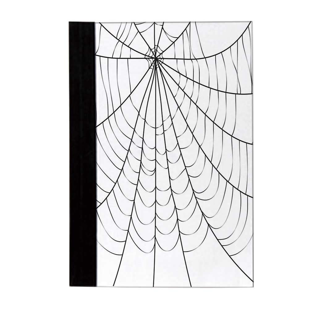 Spider Web Economic Notebook,Close Up Cobweb Design Monochrome Design Elements Catching Network Fear Decorative Notes,10'' L x 8'' W by YOLIYANA