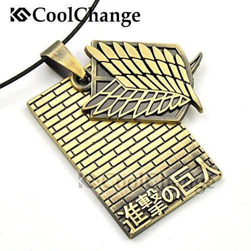 CoolChange Collier de Attaque du Titans avec Pendentif du Bataillon dexploration et du Mur