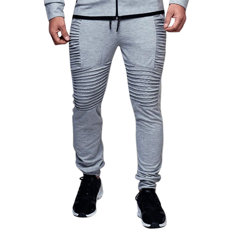 Eslove Fashion Men Pants Autumn Black Pleated Joggers Sweaterpants Bodybuilding Hip Hop Skinny Workout Pants 4XL