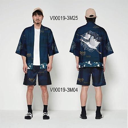 Kimono Japonés Cardigan Hombres Haori Yukata Masculino Samurai Ropa Traje Chaqueta For Hombre del Kimono Kimono Blusa OBI Ropa ZZBiao (Color : Set 06, Size : XXS): Amazon.es: Hogar