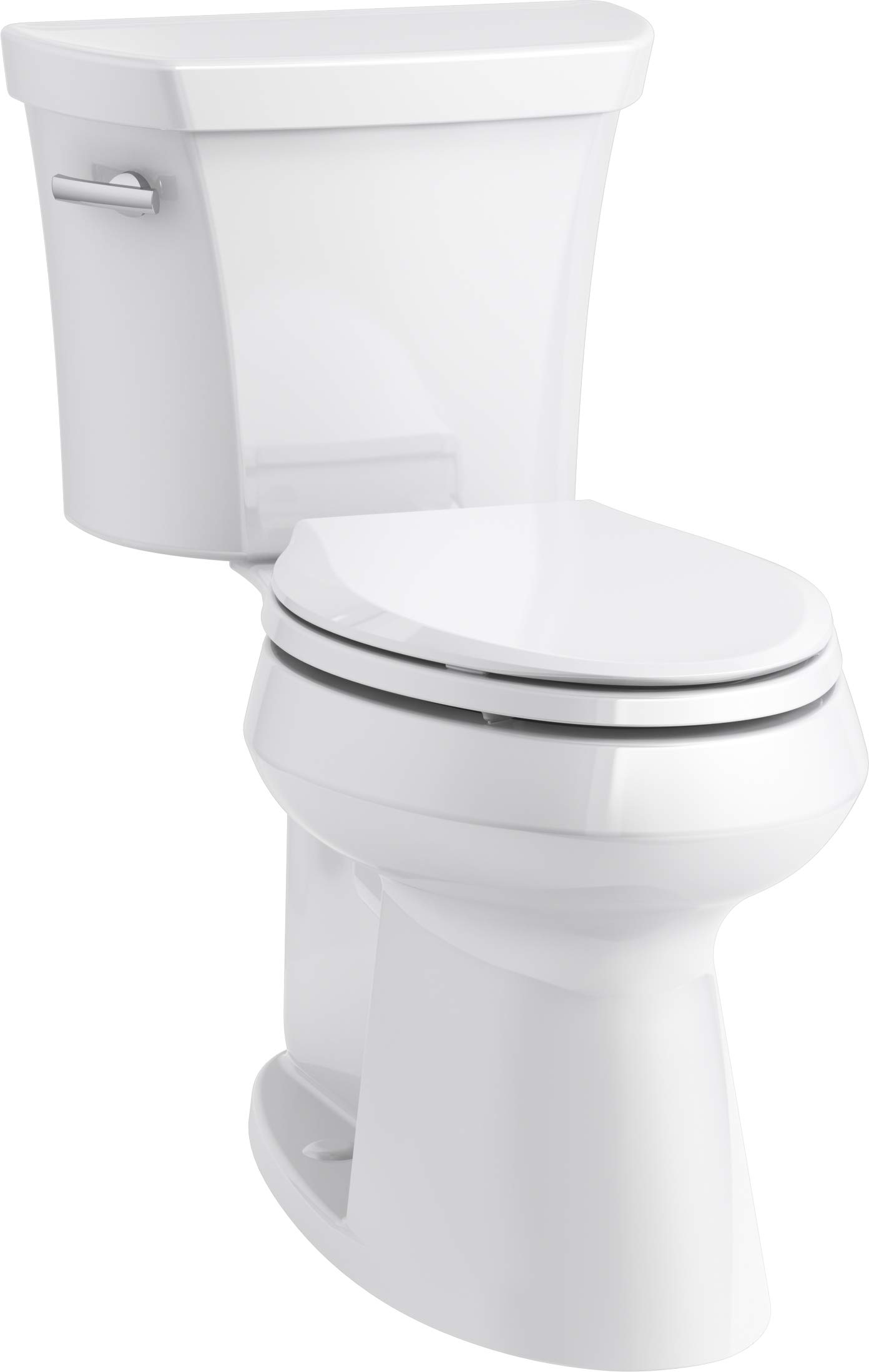 KOHLER K-76301-0 Highline Concealed Trapway Comfort Height Two-Piece Elongated 1.28 GPF Toilet with Class Five Flush Technology and Left-Hand Trip Lever, White, by Kohler