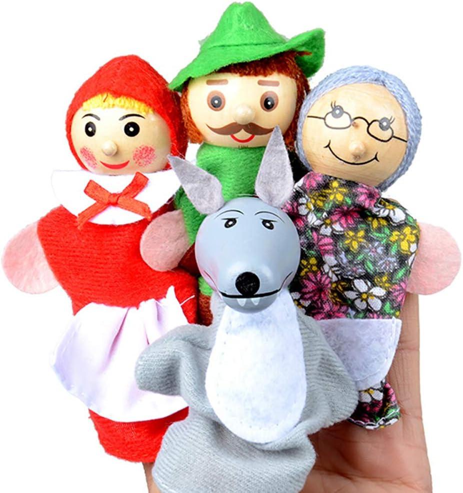 NiceButy 4PCS / Set Marionetas del Dedo Dedo Caperucita Roja de Animales de Navidad marioneta del Juguetes educativos Cuentacuentos muñeca de Dibujos Animados Terciopelo Suave Tiempo de la Historia *