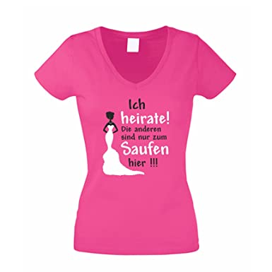 64dedae3a36d4e JGA T-Shirt Damen V-Neck - Ich heirate - die Anderen Saufen  Junggesellenabschied