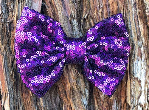 Purple Sparkle bow -Purple Sequin bow - girls bow - shiny bow - christmas bow - holiday bow - purple hairbow - plum bow - plum hairbow - sparkle bow - thanksgiving bow - christmas hairbow - purple bow (Shiny Plum)
