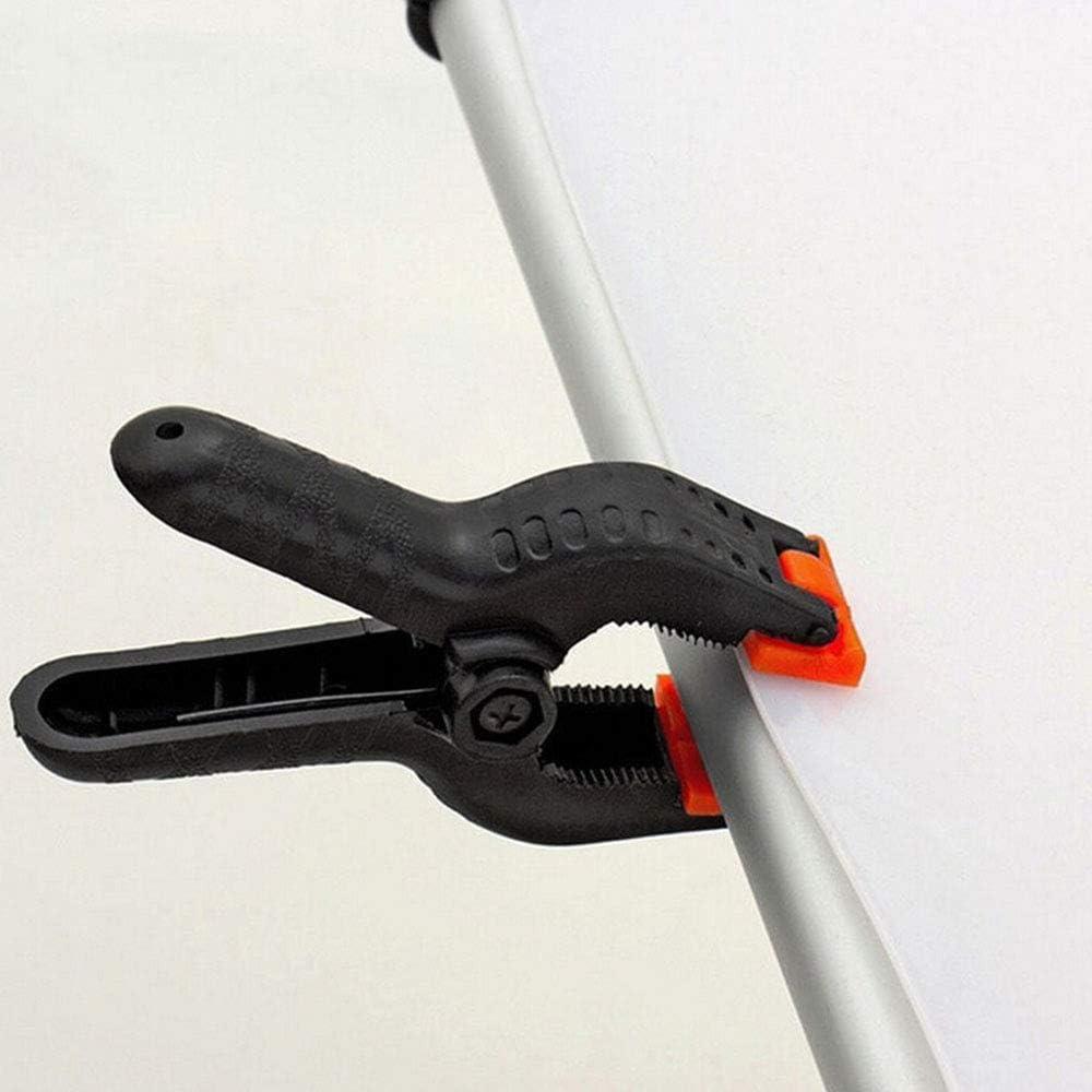 6x Abrazaderas de fondo nylon Abrazaderas de resorte para papel de muselina Pinzas de resorte herramientas abrazaderas de lona de madera,4 pulgadas