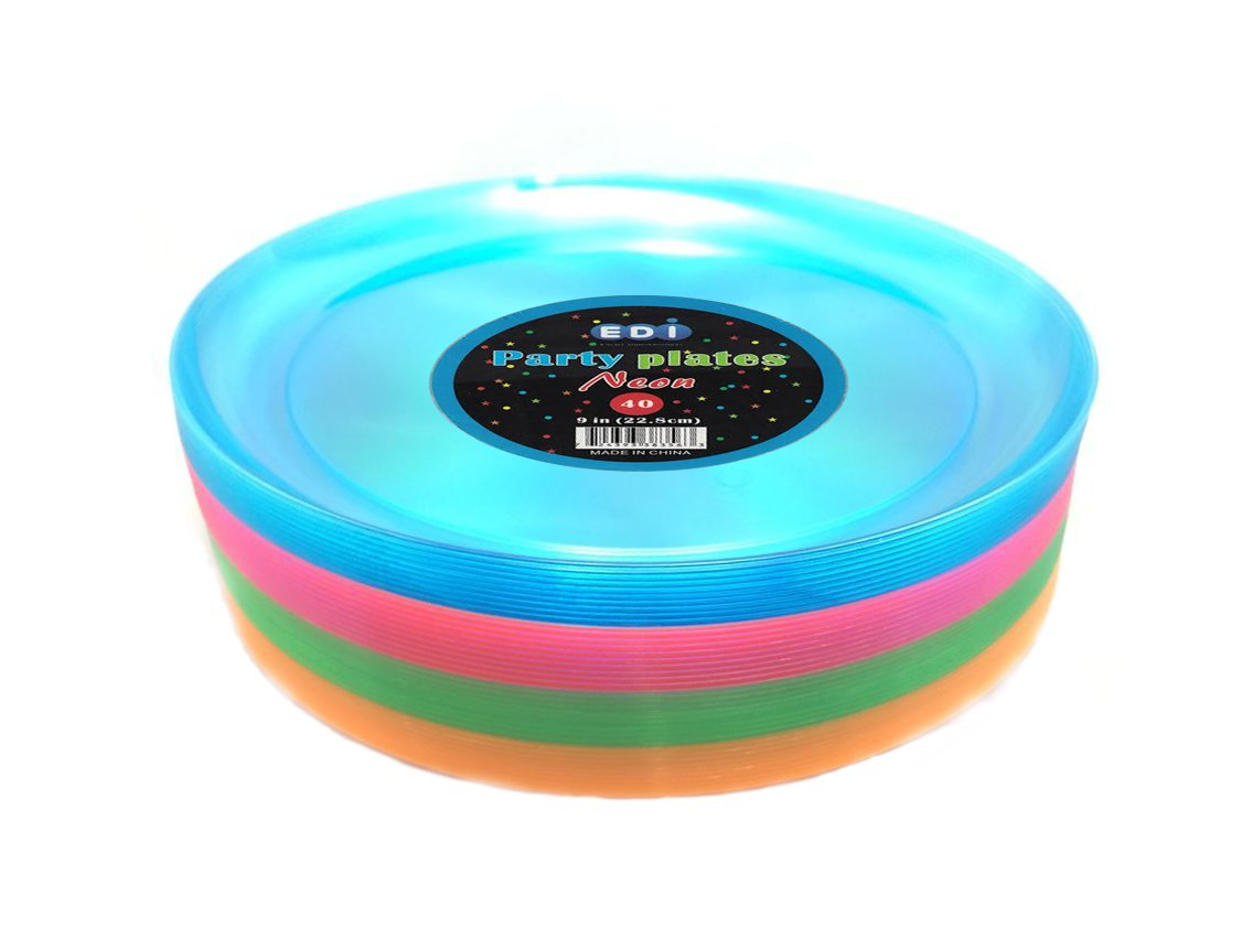 EDI Hard Plastic 9-Inch Round Party/Luncheon Plates, Assorted Neon, 40-Count (6) by EDI