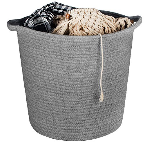 CHICVITA Cotton Rope Storage Basket Baby Blanket Basket Woven Baskets Washable Basket Home Decor Bin for Diaper Toy, Grey