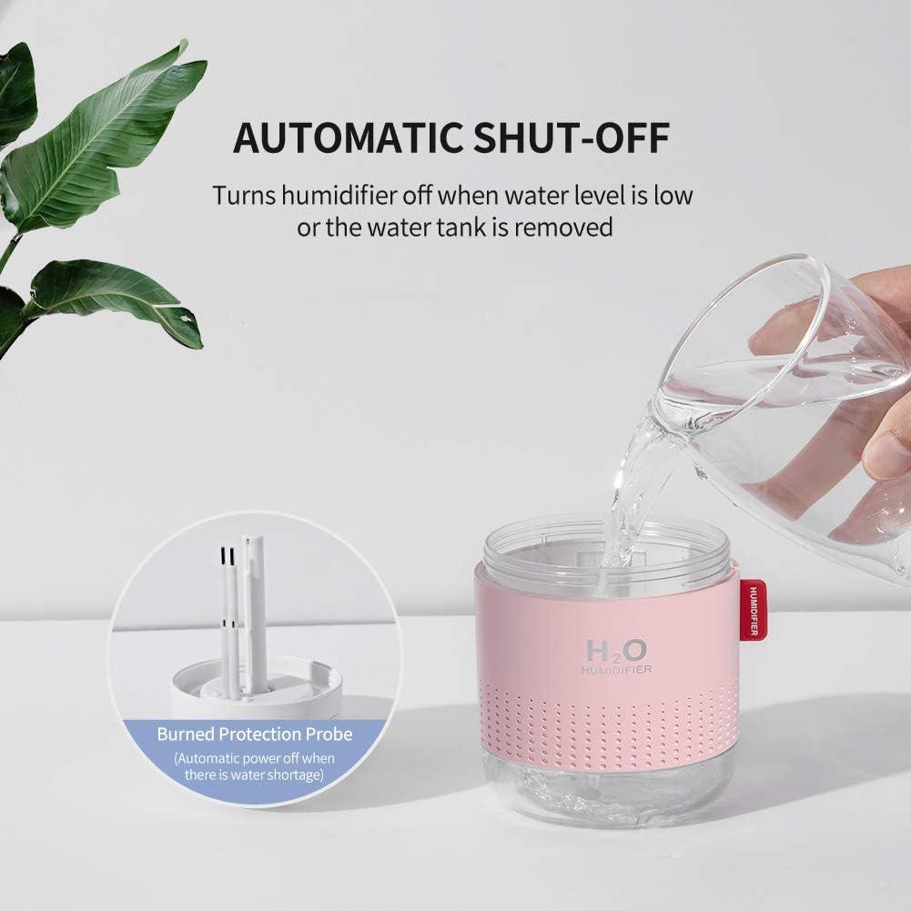 500 ml bianco Super silenzioso,Olio essenziale proibito SmartDevil Umidificatore,Mini Umidificatore a Ultrasuoni,Auto spegnimento Senza Acqua e 2 modalit/à nebulizzazione Regolabile