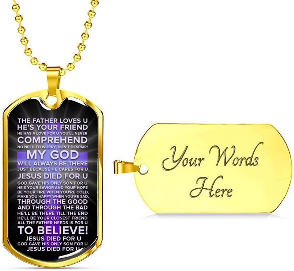 Express Your Love Gifts Jesus Died for You Faith Gear Galatians Necklace Engraved Stainless Steel Dog Tag w 24 Chain