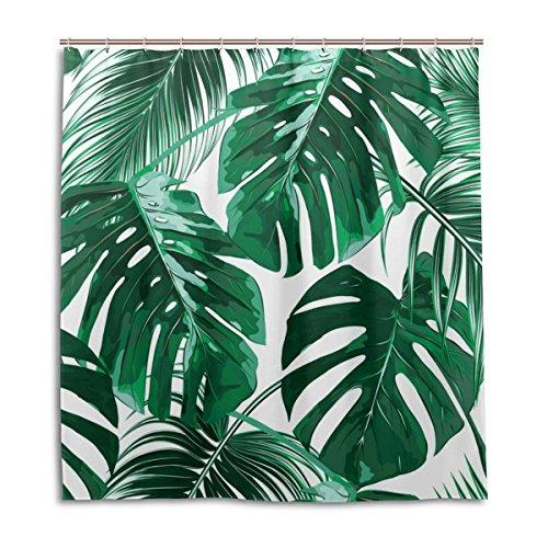 WellLee Fashion Custom Tropical Palm Leaves Jungle Shower Curtain Waterproof Fabric Bathroom Decor 66 x 72 Inch with - Shower Curtain Hooks Jungle