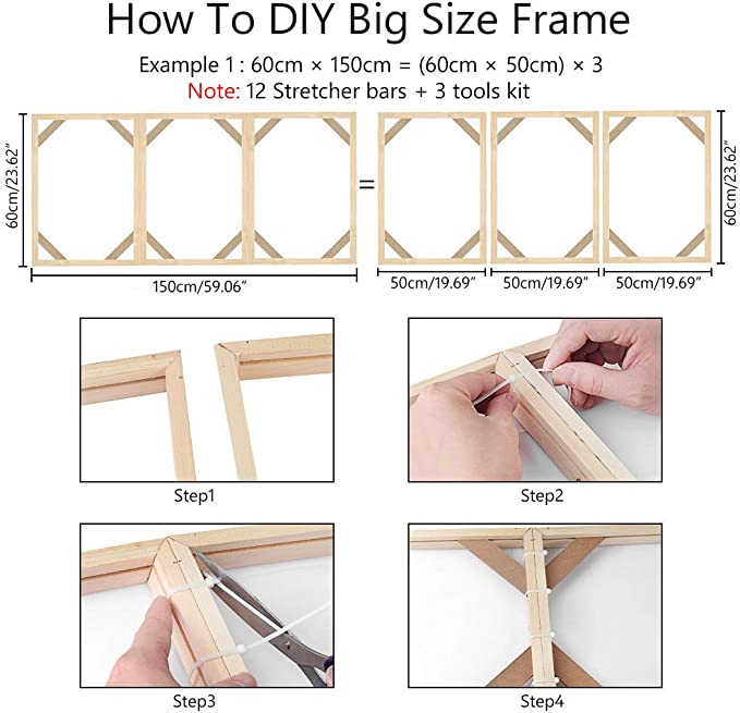 Stretcher Bars,Wood Canvas Frame Kit,DIY Canvas framm for Oil Painting,Art Stretcher Bars 25x60cm 10x24 Inch