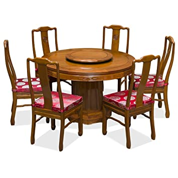 Hand Crafted 48in Rosewood Longevity Design Round Dining Table With 6 Chairs    Natural