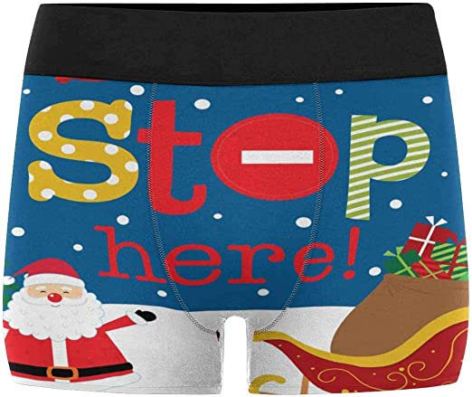 XS-3XL INTERESTPRINT Boxer Briefs Mens Underwear Colorful Funny Santa Claus Head Set
