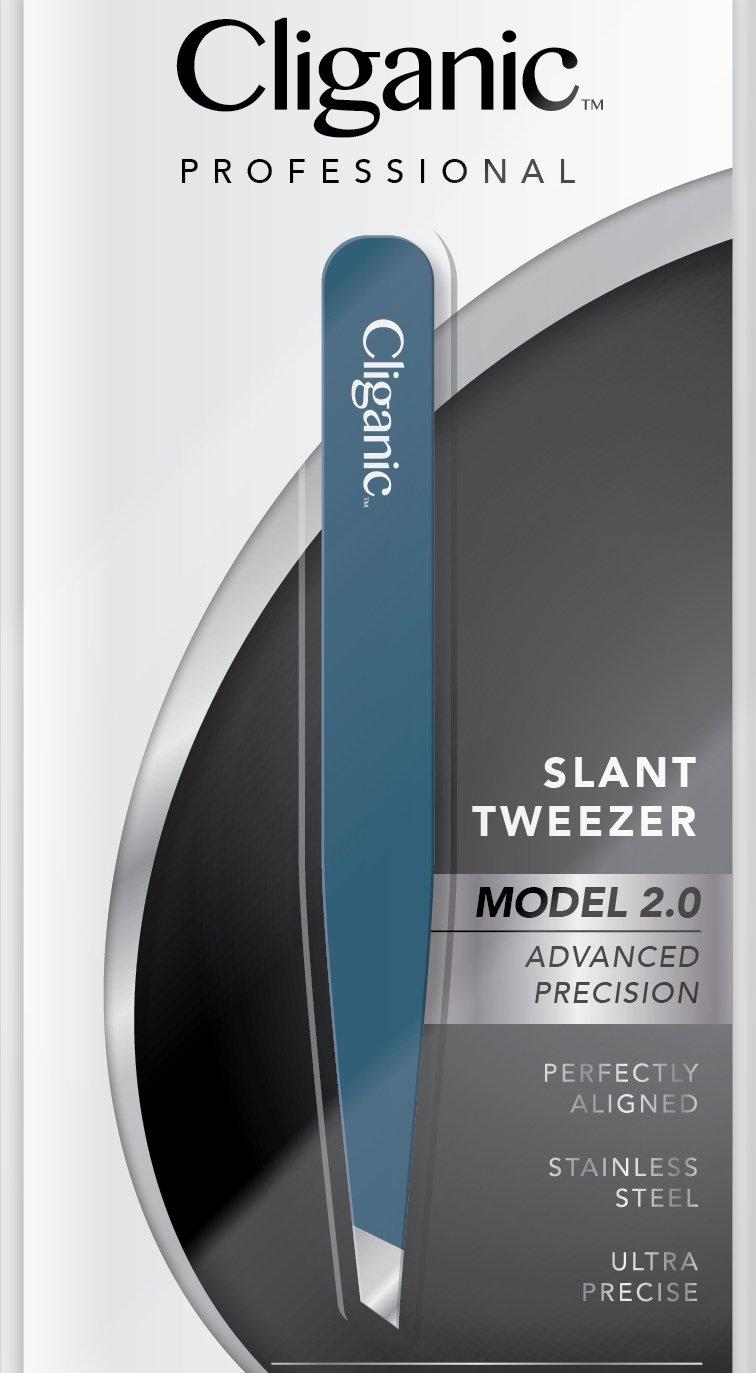 Cliganic Professional Slant Tweezers  Precision Tweezers for Eyebrows  Hair Tweezer for Men  Women