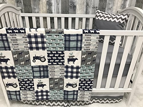 Farm Crib - Baby Nursery Bedding, Baby, Farm LIfe, Cow, Chickens, Cowboy, Farmer, Tractor, Baby Bedding, Crib Bedding, Babylooms
