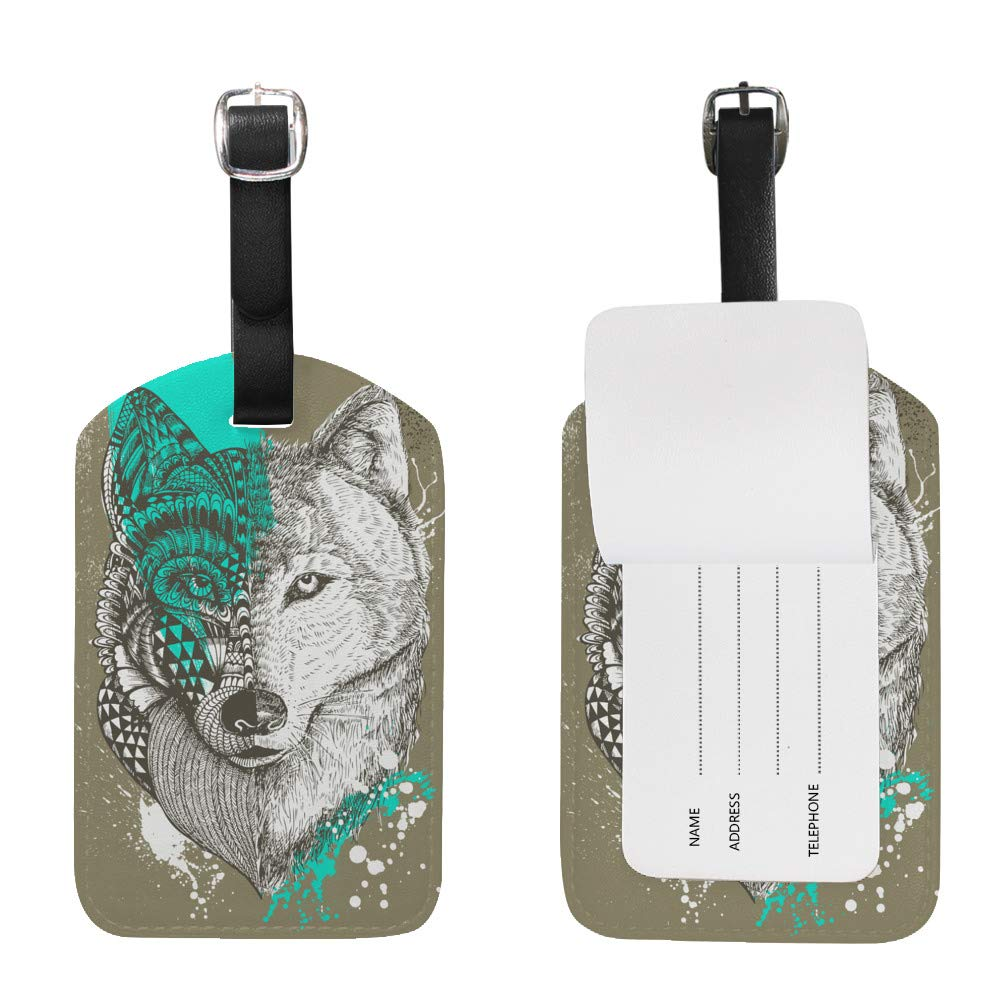 1pcs Luggage Tags PU Leather Tags Suitcase Labels Travel Bag With Privacy Cover Wolf Paint Splatters Graffiti Creative Pattern Printing