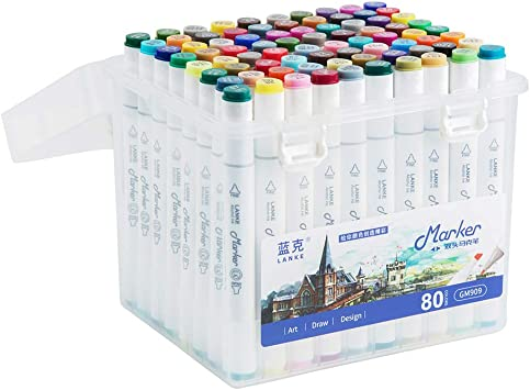 80 Colors Alcohol Markers Pen Set for Kids and Adult coloring book Dual Tip Drawing markers for Artists Permanent Markers Illustration