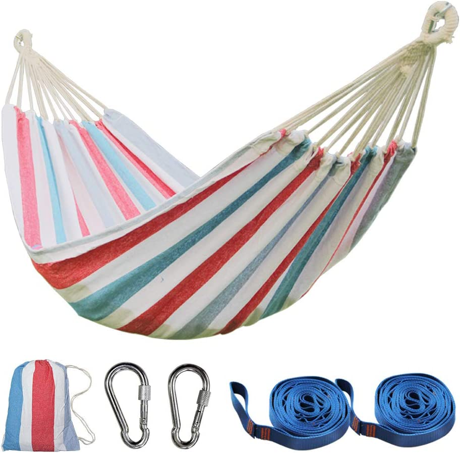 PIRNY Single Cotton Hammock,Hanging Swing Bed,Up to 400 Lbs,incude 20 ft of Tree Swing Straps and 2 Carabiner,for Indoor Outdoor Garden Patio Park Porch(Red White Stripes)