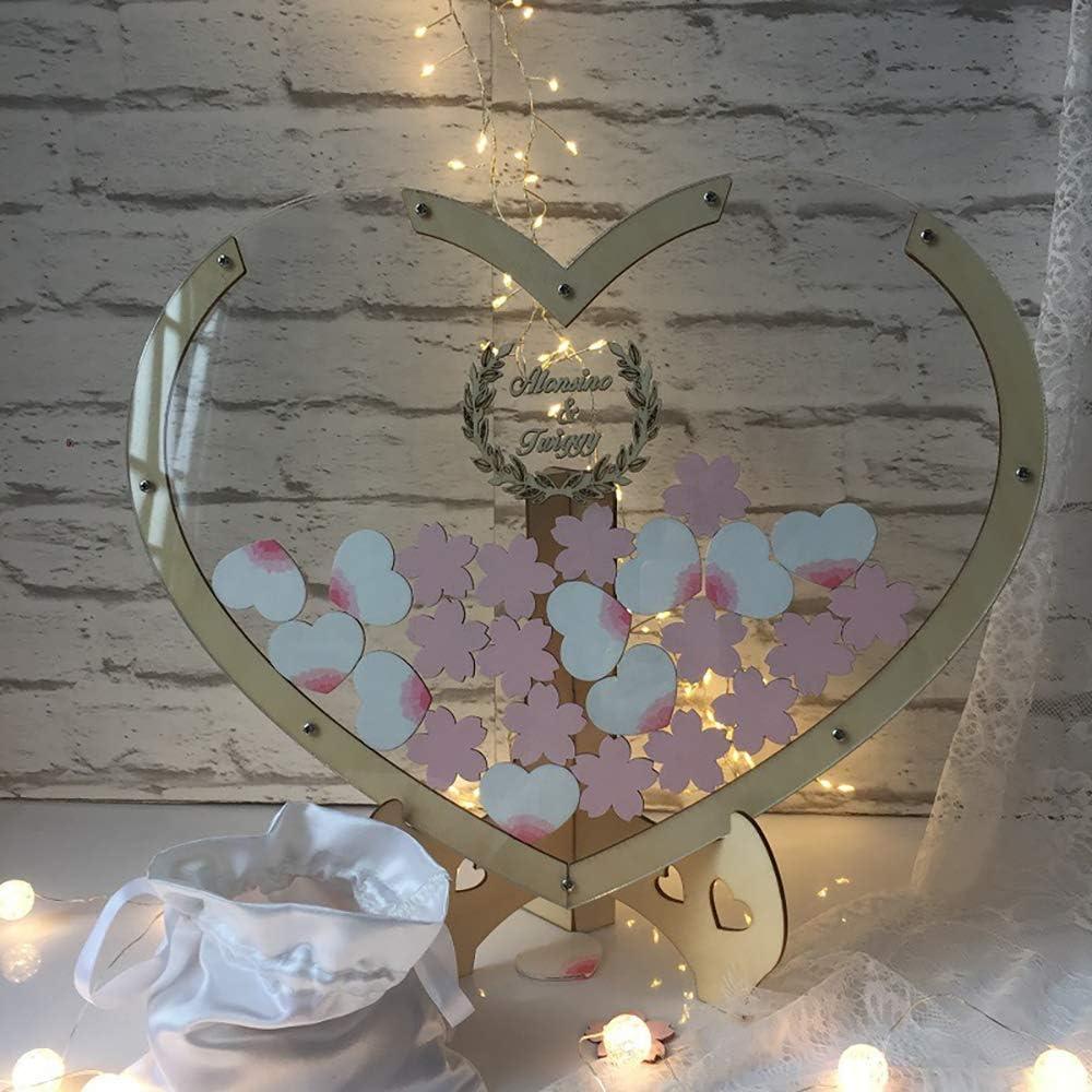 Wedding Alternativo Legno Cornice Unico Libro degli Ospiti Cuori Registro degli Invitati 50 Cuori ZHONGXIN Guestbook Matrimonio Wooden Guest Sign Book Decorazioni di Nozze Vintage