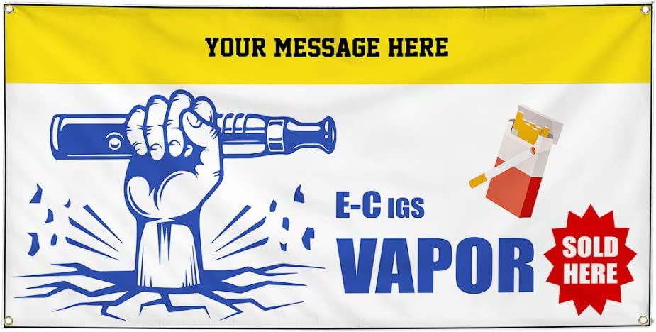 Custom Industrial Vinyl Banner Multiple Sizes E-Cigs Vapor Sold Here Style C Personalized Text Funny and Novelty Outdoor Weatherproof Yard Signs Red 10 Grommets 48x120Inches