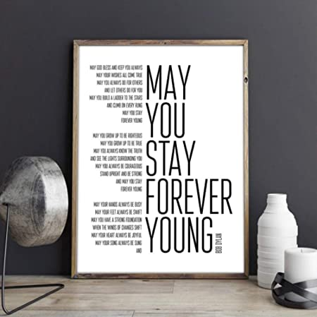 Forever Young Song Letras Poster Art Painting Blanco y Negro ...