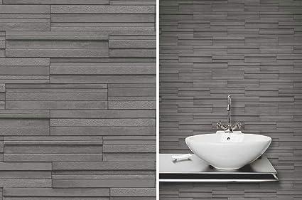Fine Ceramica Slate Tile Brick Effect Wallpaper Charcoal Grey By Fine Decor Fd40126 Download Free Architecture Designs Ogrambritishbridgeorg