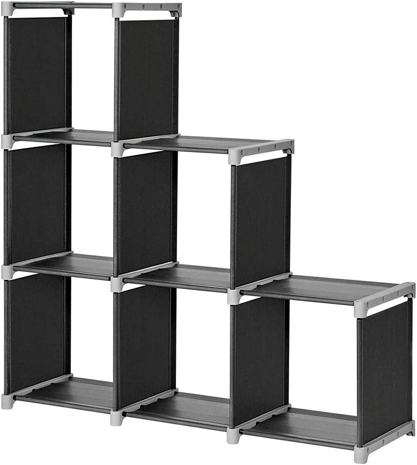 TXT&BAZ 6-Cube Storage Organizer,DIY Storage Shelf,Open Bookshelf ,Black