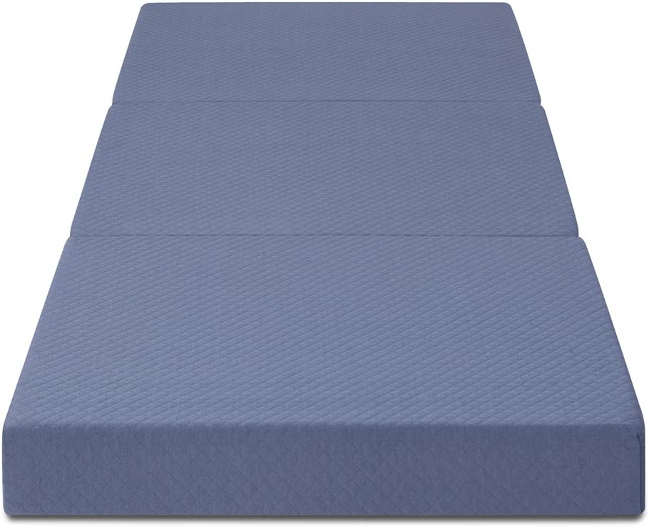 Olee Sleep Topper Tri-Folding Memory Foam Mattress, 4 , Grey