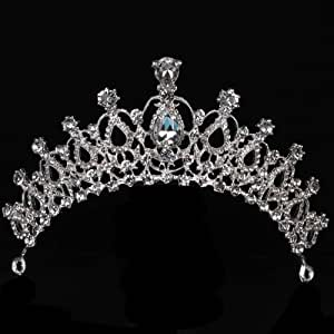 Vinsco Crystal Tiara Crown Headband Headpiece Rhinestone Hair Jewelry Decor for Women Ladies Little Girls Bridal Bride Princess Birthday Wedding Pageant Prom Party with Pin Holes Sliver(Style 3)