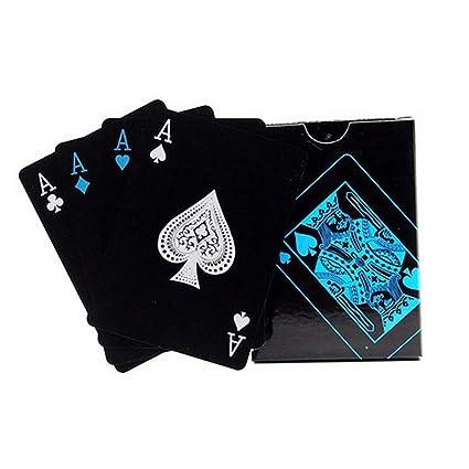 JOYfree Cartas Impermeables Tarjetas de Poker plástico Negro ...