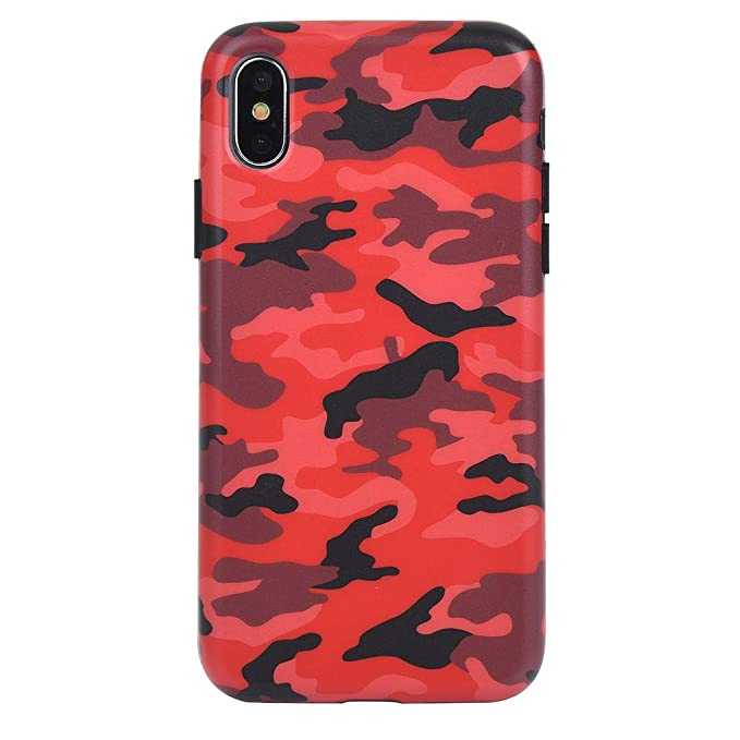 the latest 8acd8 cdd8b Red Camo iPhone Xs Case/iPhone X Case - Premium Protective Cover - Cool  Phone Cases for Girls & Men [Drop Test Certified]