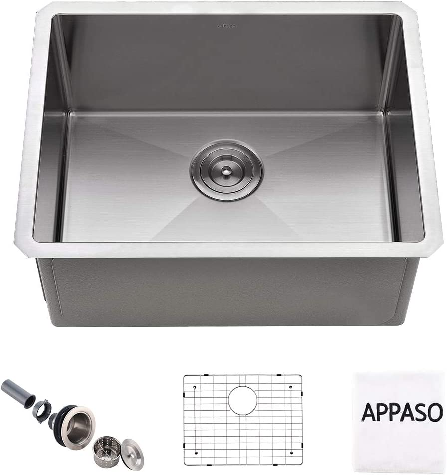 APPASO 23 Inches Single Bowl Kitchen Sink Undermount, 16-Gauge Commercial Stainless Steel 10-Inch Deep Laundry Utility Sink, Handmade Drop-in Small Kitchen Sink, HS2318