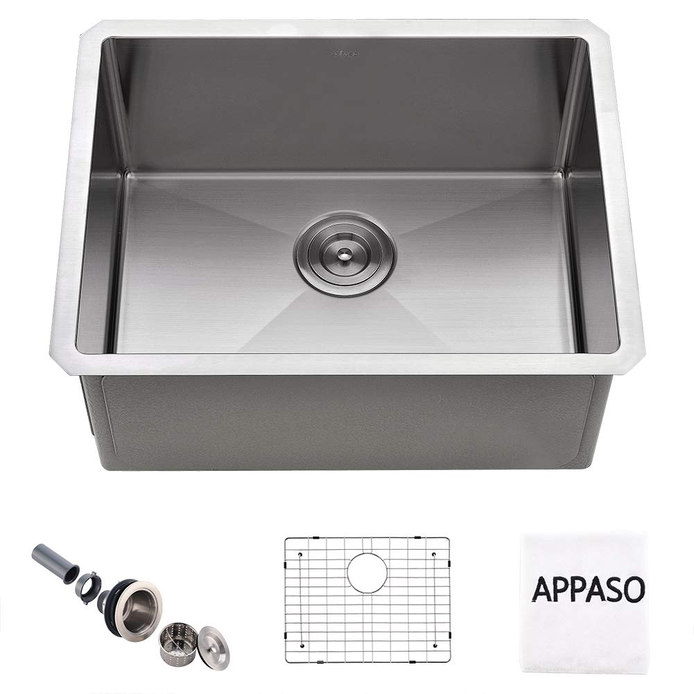 APPASO 23-Inch Silent PRO Kitchen Sink Undermount, 16-Gauge Stainless Steel 10-Inch Deep Laundry Utility Sink, Commercial Handmade Single Bowl Kitchen Sink,HS2318