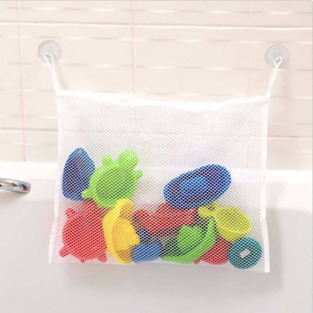 BESTOMZ Bath Toy Organizer Bathtub Mesh Net Baby Toy Storage Bin Suction Cups Bag 45x35cm
