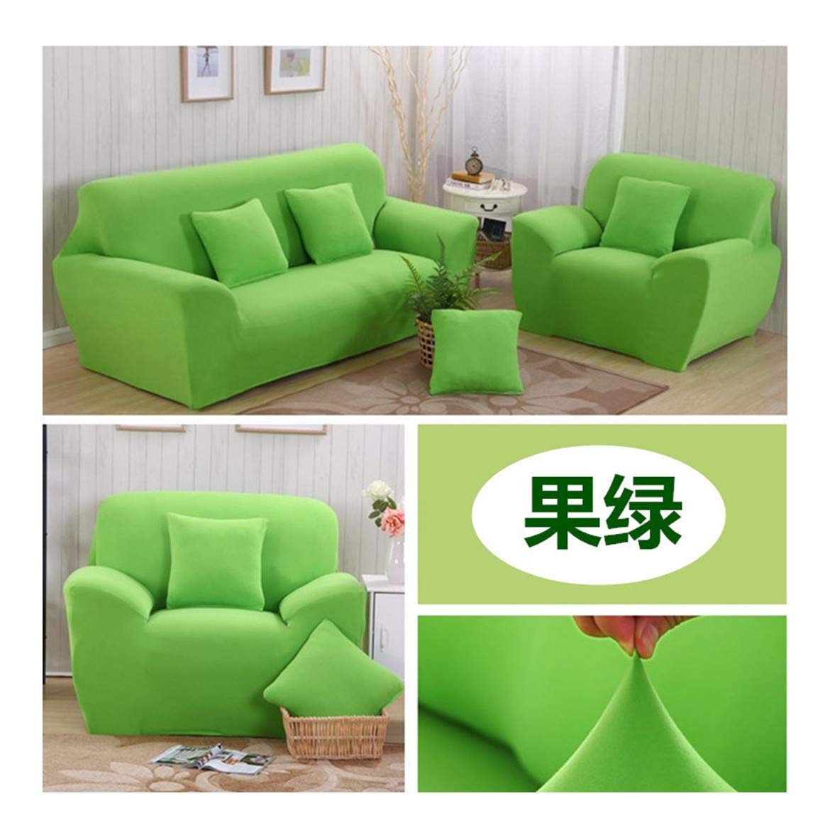 4seat VGUYFUYH Fruit Green Knitted Sofa Cover Polyester Full Package Elasticity Slip-Proof Home Universal Sofa Cover Simple Fashion One Set Durable Dust-Proof Pet Dog Predective Cover,4Seat
