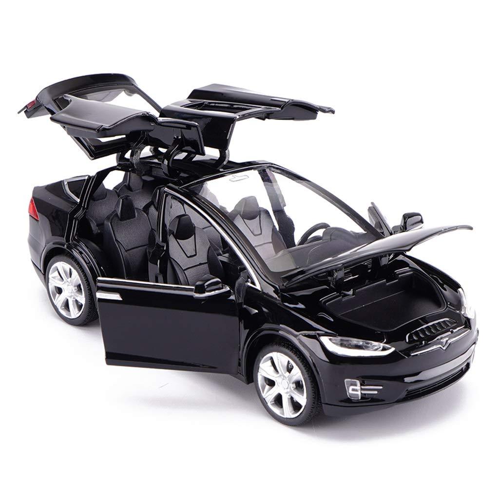 Colore : Nero LBYMYB Modello Auto Tesla X Fuoristrada SUV 1:32 Simulazione Die-Casting Lega Giocattolo Modello di Auto Decorazione 15x5.5x4.5 CM