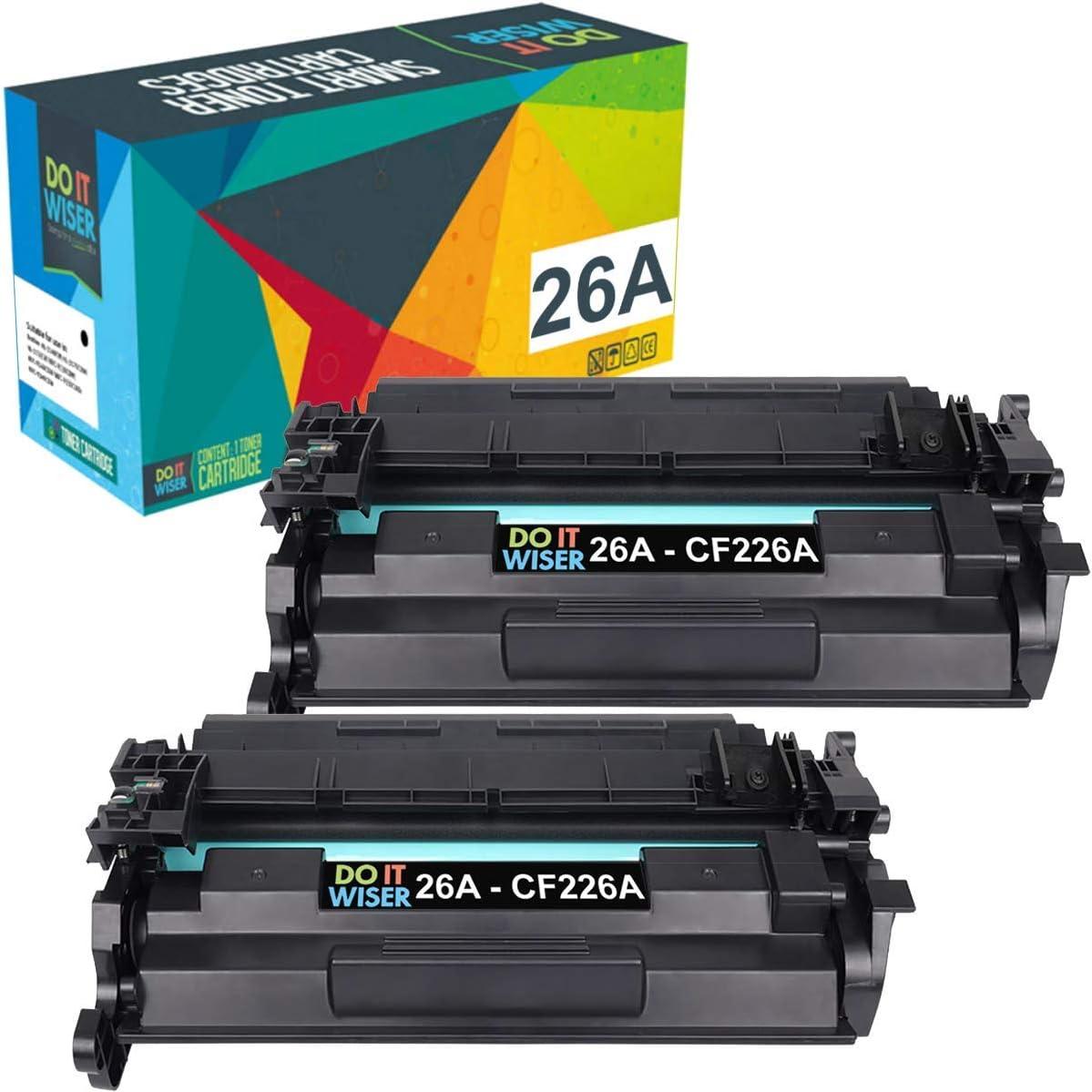 Do it Wiser Compatible Toner Cartridge Replacement for HP 26A CF226A 26X CF226X Laserjet Pro M402n M402dn M426 M402d M402dw Laser Jet MFP M426fdw M426fdn M402 M426dw Printer Ink (Black, 2-Pack)