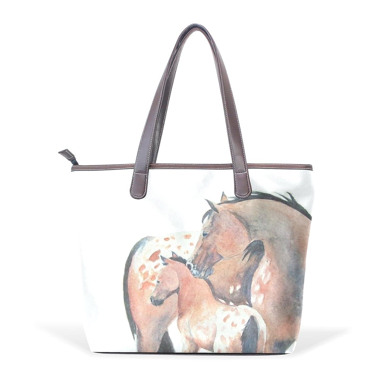 WDYSECRET Brown Horse Women's Pu Leather Handbag Shoulder Bag Zipper Shopping Bag