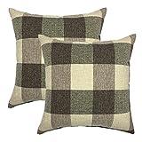 Decorative Pillow Cover - YOUR SMILE Retro Farmhouse Tartan Plaid Cotton Linen Decorative Throw Pillow Case Cushion Cover Pillowcase for Sofa 18 x 18 Inch , Set of 2 , Brown