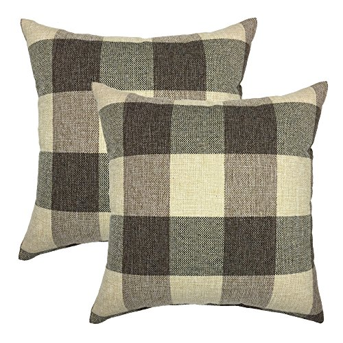 YOUR SMILE Retro Farmhouse Tartan Plaid Cotton Linen Decorative Throw Pillow Case Cushion Cover Pillowcase for Sofa 18 x 18 Inch , Set of 2 , Brown