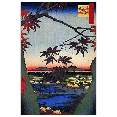ArtPlaza Hiroshige Utagawa - Maple Trees at Mama Panneau Décoratif, Bois, Multicolore, 60 x 1.8 x 90 cmAS92926