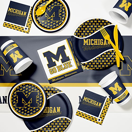University of Michigan Game Day Party Supplies Kit (Michigan Day Watch Game Wolverines)