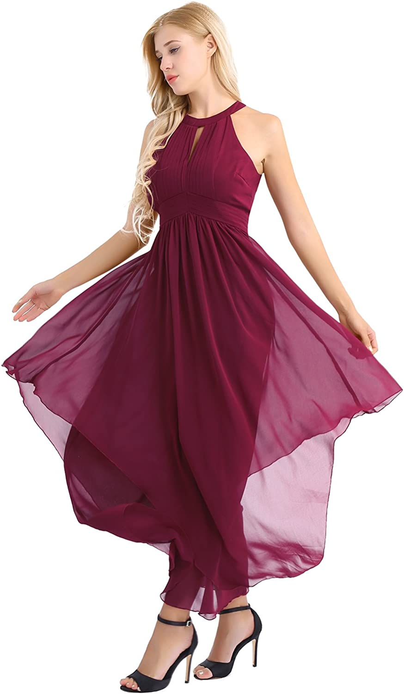 YiZYiF Womens Bridesmaid Dress High Neckline Halter Chiffon Full Length Dinner Party Dress
