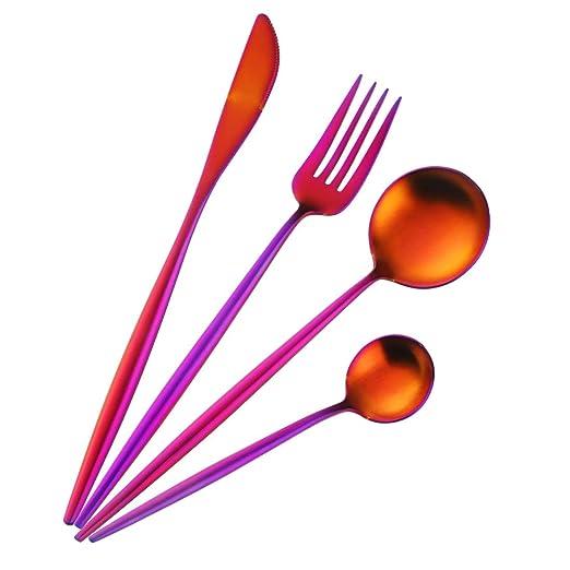 Buyer Star Set de cubiertos 4 lujo Fucsia Cubiertos acero inoxidable Vajilla Rainbow Red para 1
