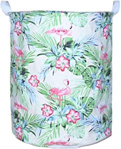 "Yearn 19.7"" Large Collapsible Laundry Basket,Waterproof Canvas Round Storage Hamper Home Organizer Storage Cute Cartoon Nursery Basket (Green Leaf Flamingo)"