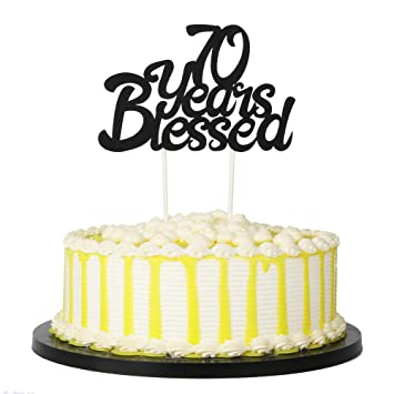 Amazon PALASASA Black Single Sided Glitter 70 Years Blessed Cake Topper