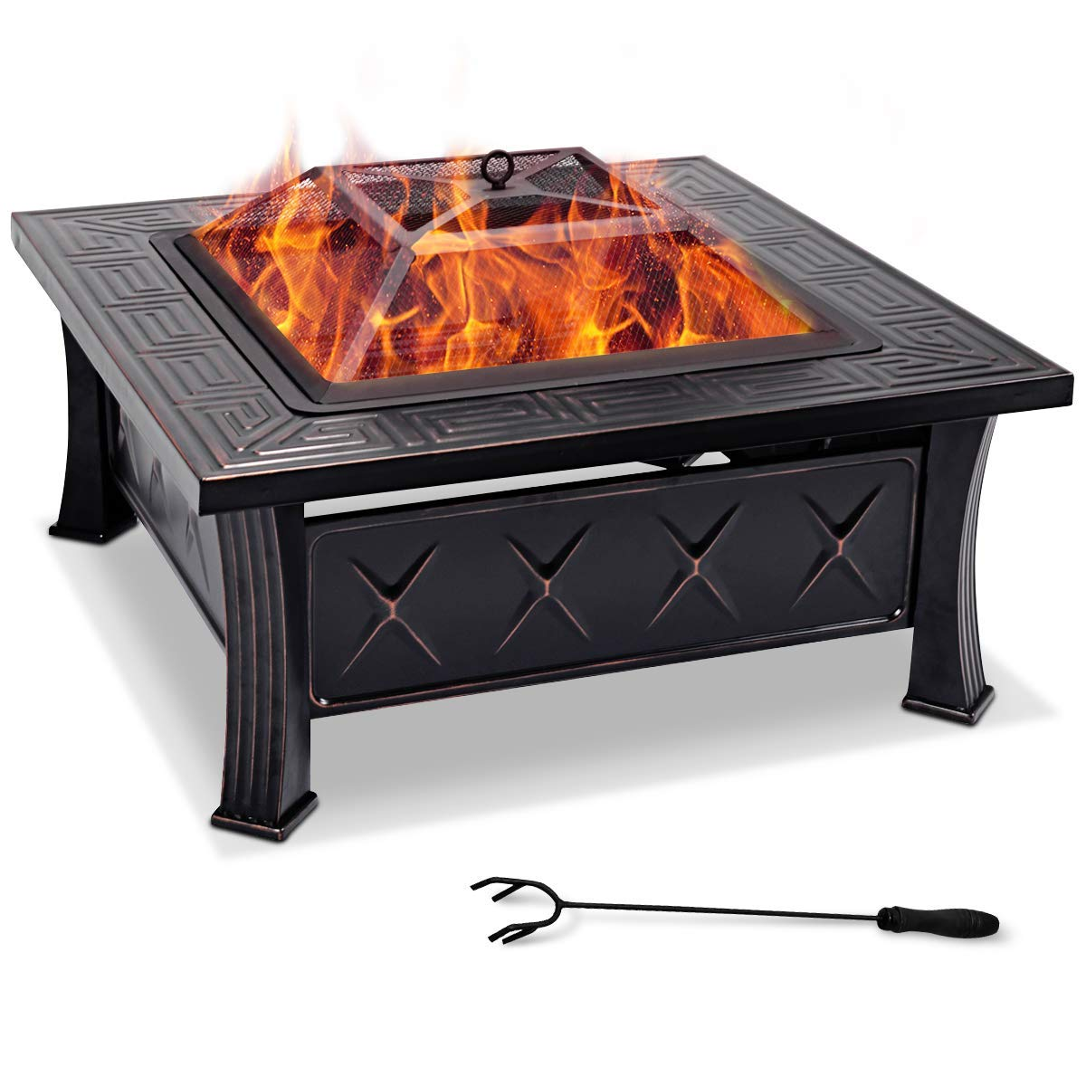 45 Stove r With Poke Pit Patio Generic ** quare CM Garden Heater CM Gard Square Fire B Fire-pit Braz Fire-pit Brazier With Poker ier With Pok