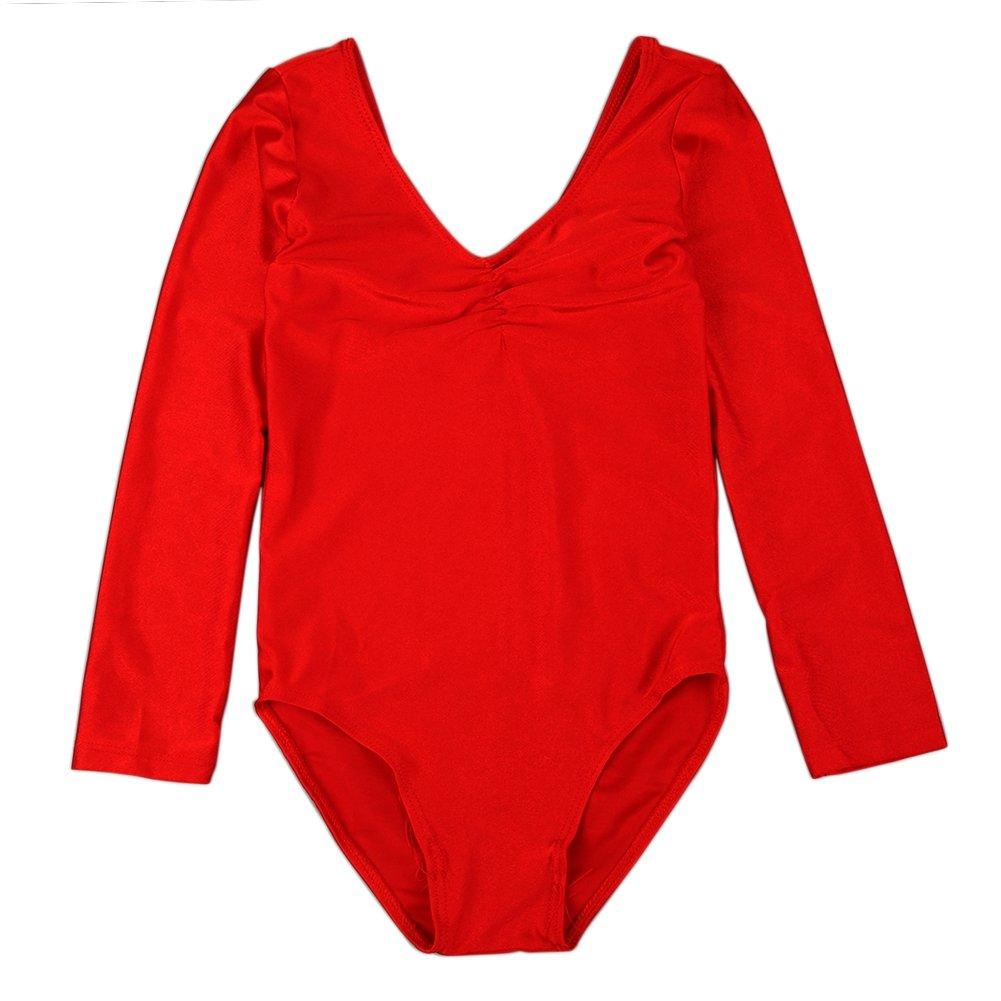 Qlan Robe de Danse de Gymnastique /à Manches Longues pour Filles Robe de Danse Robe de Danse de Danse de Ballet Extensible pour 4-11 Ans